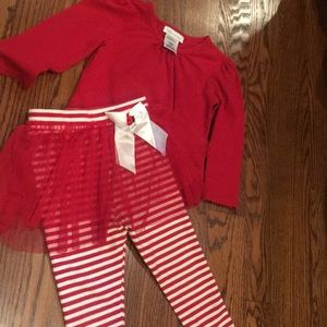 GUC Bonnie Jean Striped Leggings Christmas 4T